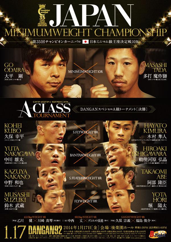 DANGAN92 第35回チャンピオンカーニバル 日本ミニマム級王座決定戦&DANGANスペシャルA級トーナメント決勝 試合結果